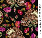 embroidery skull and flowers... | Shutterstock .eps vector #793235155