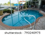 home inground pool in the yard...   Shutterstock . vector #793240975