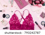 Stock photo fashion collection with sexy red lace lingerie accessories flowers cosmetics and jewelry on pink 793242787