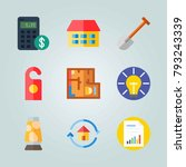 icon set about real assets.... | Shutterstock .eps vector #793243339