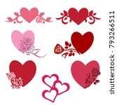 vector hearts. set for wedding... | Shutterstock .eps vector #793266511