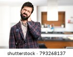 well dressed man with neck pain ... | Shutterstock . vector #793268137