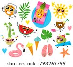 set of fruit and sun characters ... | Shutterstock .eps vector #793269799