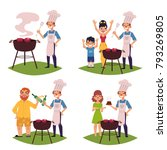 people make bbq  barbeque... | Shutterstock .eps vector #793269805