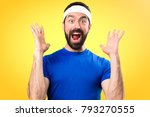 funny sportsman making surprise ... | Shutterstock . vector #793270555