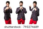 set of well dressed man fighting | Shutterstock . vector #793274689