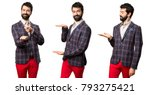 set of well dressed man holding ... | Shutterstock . vector #793275421