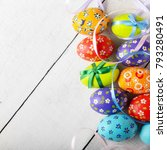 painted decorated easter eggs... | Shutterstock . vector #793280491