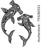 hammer sharks tattoo in maori... | Shutterstock .eps vector #793280521