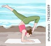 Yoga Pose  Woman Handstand ...