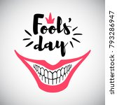 april fool's day greeting card. ... | Shutterstock .eps vector #793286947