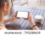 woman holding mobile phone in... | Shutterstock . vector #793288639