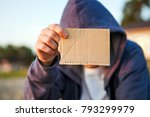person show the empty cardboard ... | Shutterstock . vector #793299979