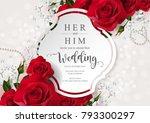 wedding invitation card... | Shutterstock .eps vector #793300297
