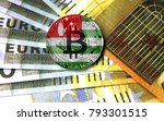 bitcoin with a flag on money... | Shutterstock . vector #793301515