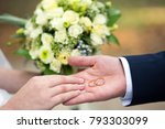 two gold rings in the hands of... | Shutterstock . vector #793303099
