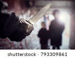 criminal with knife weapon... | Shutterstock . vector #793309861