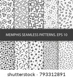 memphis patterns background  | Shutterstock .eps vector #793312891