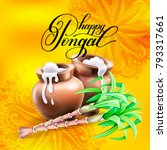 happy pongal greeting card to... | Shutterstock . vector #793317661