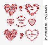 set of decorative floral heart...   Shutterstock .eps vector #793318291