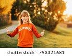 cute little girl playing... | Shutterstock . vector #793321681