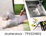 plumber repairing the faucet of ... | Shutterstock . vector #793324801