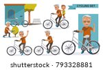cycling older set. grandfather... | Shutterstock .eps vector #793328881