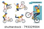 cycling man set. stunt bike... | Shutterstock .eps vector #793329004