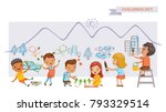 children art group. cute kids... | Shutterstock .eps vector #793329514