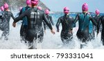 group triathlon participants... | Shutterstock . vector #793331041