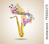 saxophone and music notes on... | Shutterstock .eps vector #793332175