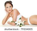 beautiful woman with flower   Shutterstock . vector #79334005