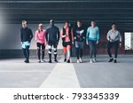 front view of several young... | Shutterstock . vector #793345339