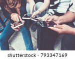 group of people using smart... | Shutterstock . vector #793347169