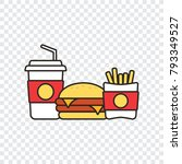 fast food snacks and drinks... | Shutterstock .eps vector #793349527