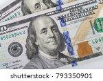 macro shot of a 100 dollar.... | Shutterstock . vector #793350901