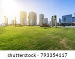 green lawn with cityscape in... | Shutterstock . vector #793354117