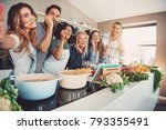friends wearing asparagus... | Shutterstock . vector #793355491