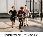 stressed smart geek running... | Shutterstock . vector #793356151