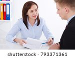 business partners discussing... | Shutterstock . vector #793371361