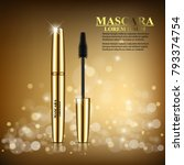 realistic cosmetic mascara... | Shutterstock .eps vector #793374754