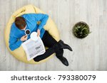 directly above view of young... | Shutterstock . vector #793380079