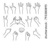 black thin line set of hands... | Shutterstock .eps vector #793380895