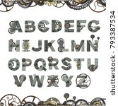 alphabet   letters from rusty... | Shutterstock . vector #793387534