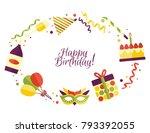 vector flat happy birthday card ...   Shutterstock .eps vector #793392055
