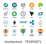 crypto currency icon big set... | Shutterstock .eps vector #793392871