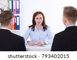 woman boss. business team... | Shutterstock . vector #793402015