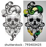 bearded skull illustration   Shutterstock .eps vector #793403425