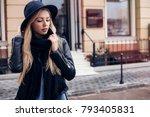 outdoor fashion portrait of... | Shutterstock . vector #793405831