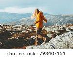 traveler woman trail running...   Shutterstock . vector #793407151